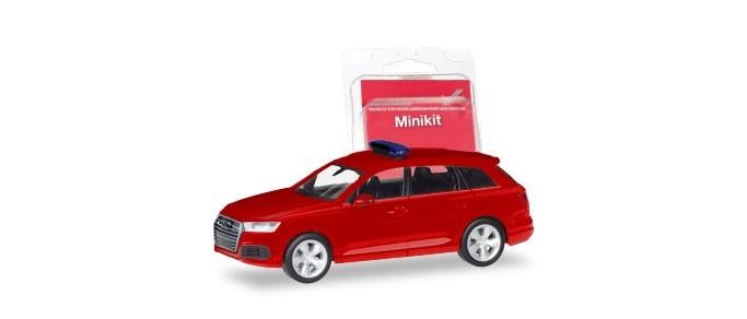 Herpa Mini-Kit AudiQ7 in rot mitBlaulichtbalken, NH 09-10/18,(Vorbestellung / Modell noch nicht lieferbar !!!)