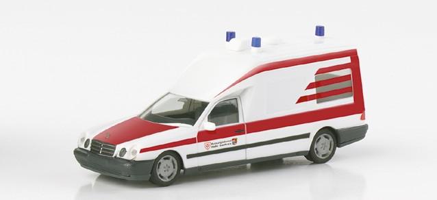 """Herpa Mercedes-Benz W 210 Binz KTW """"Rettungsdienst Halle"""" (Restmenge)"""