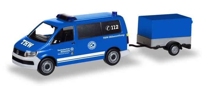 """Herpa VW T6 Bus mit Pritschenanhänger """"THW Korbach / Höhenrettung"""",NH 05-06/18,"""