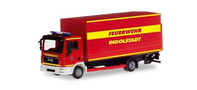 Herpa MAN TGL LKW Feuerwehr Ingolstadt mit Ladebordwand, NH 01-02/19