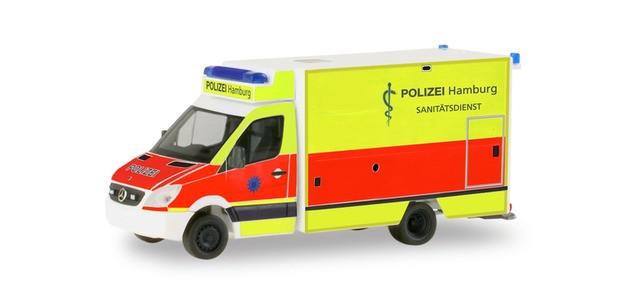 Herpa MB Sprinter RTW Fahrtec Polizei Hamburg Sanitätsdienst 094436