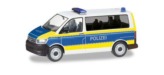 """Herpa VW T6 Bus """"Polizei Brandenburg"""", NH 09-10/19,(Vorbestellung / Modell noch nicht lieferbar !!!)"""