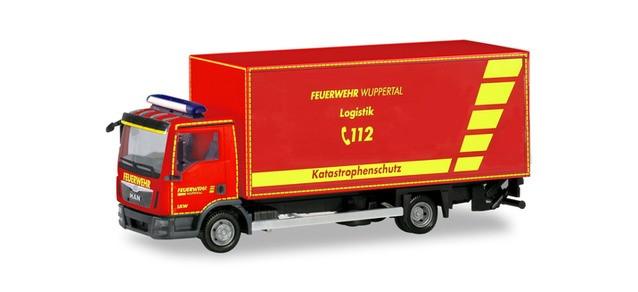 """Herpa MAN TGL Euro6 Koffer-LKW mit Ladebordwand """"Feuerwehr Wuppertal"""", NH 09-10/19, (Vorbestellung / Modell noch nicht lieferbar !!)"""