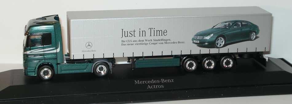 """Herpa MB Actros LH MP2 Fv Cv Gardinenplanensattelzug 2/3 """"Just in Time - Ihr CLS aus dem Werk Sindelfingen"""" (Mercedes-Werbemodell) (Einzelstück)"""