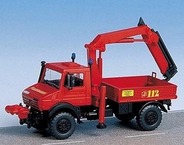 kibri Bausatz MB Unimog Pritsche mit Palfinger-Kran Feuerwehr -Einzelstück-