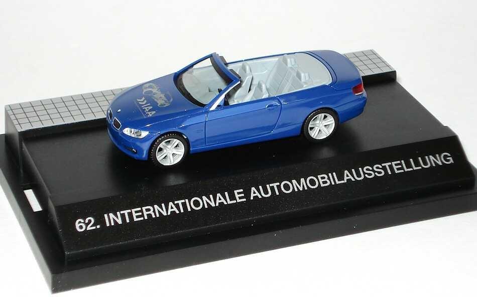 """Herpa BMW 3er Cabrio (E93) blau """"IAA - Sehen, was mogen bewegt, 62. International Automobilausstellung in PC-Box"""