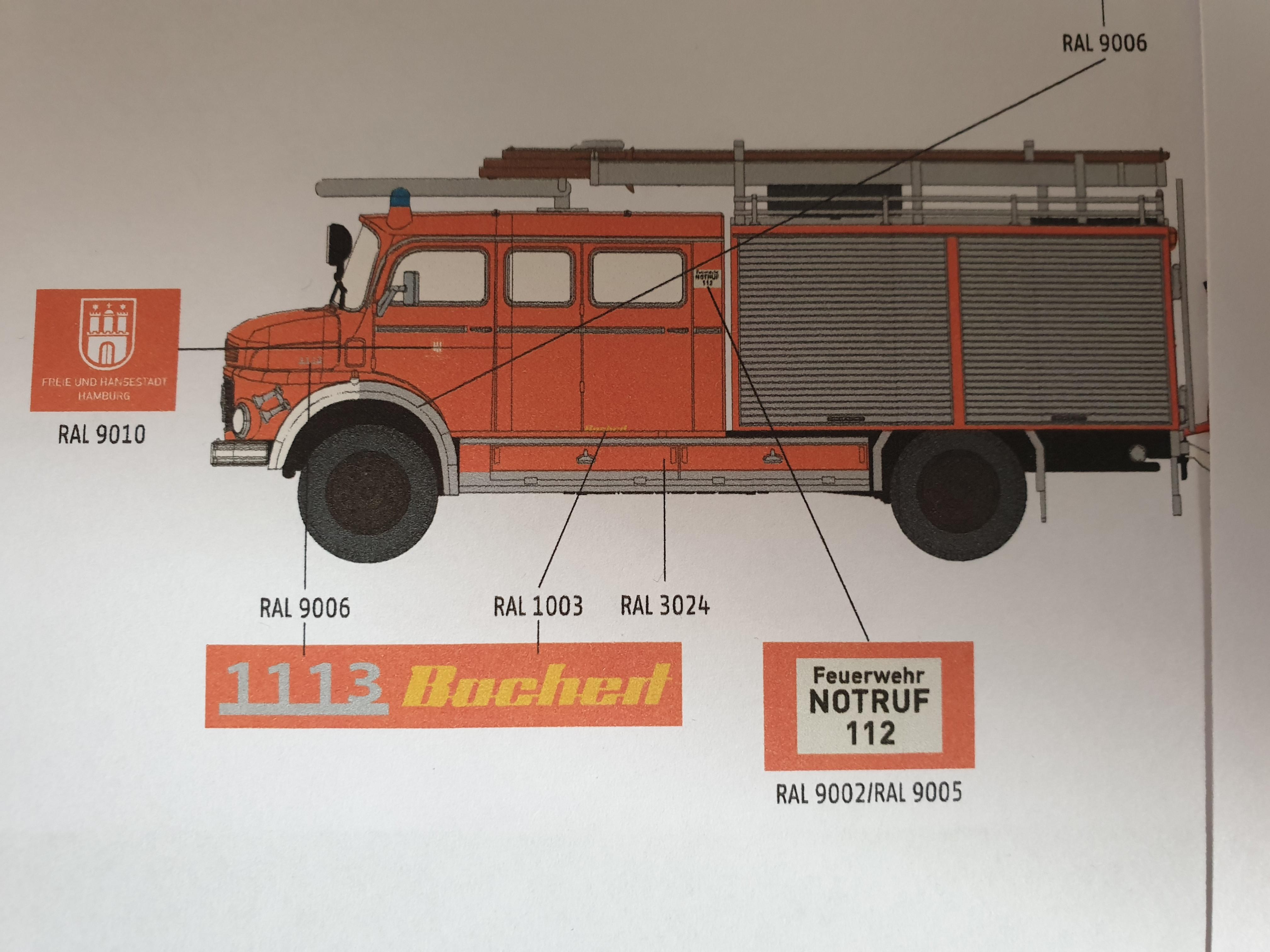 Brekina MB LAF 1113 TLF 16/25 Feuerwehr Hamburg Osdorf (BF), Vorbestellung / Modell noch nicht lieferbar !!!!