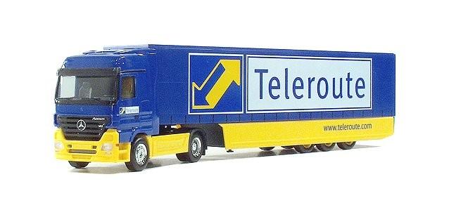 """Herpa Mercedes-Benz Actros LH '02 Safeliner-Sattelzug """"Teleroute"""" (Einzelstück)"""