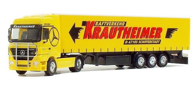 """Herpa Mercedes-Benz Actros LH '02 Gardinenplanen-Sattelzug """"Krautheimer"""" (Einzelstück)"""
