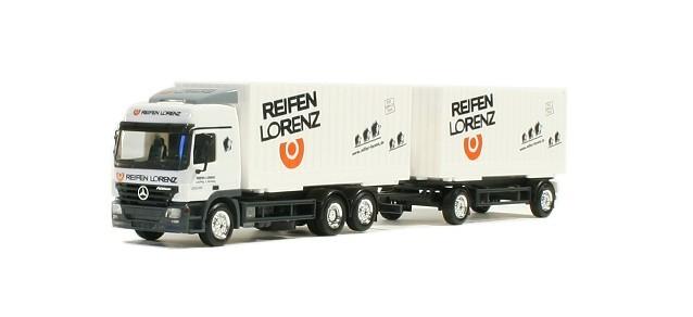 "Herpa  MB Actros L Wechselcargoboxen-Hängerzug ""Reifen Lorenz"" -Einzelstück-"