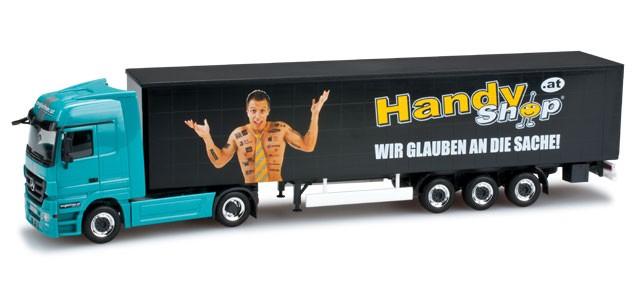 "Herpa Mercedes-Benz Actros LH Gardinenplanen-Sattelzug ""Angleitner"" (Einzelstück)"