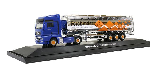 "Herpa MAN TGX XXL Jumbotank-Sattelzug ""Feldbinder"" PC-Box -Einzelstück-"