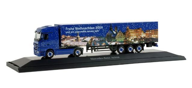 """Herpa Mercedes-Benz Actros LH Koffer-Sattelzug """"Weihnachten 2009"""" - Einzelstück -"""