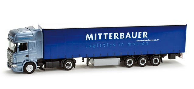 "Herpa Scania R TL Gardinenplanen-Sattelzug ""Mitterbauer"" (A) (Einzelstück)"