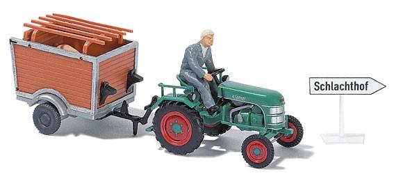 Busch Traktor Kramer KL II mit Anhänger und Bauer sowie  Schwein -Einzelstück-