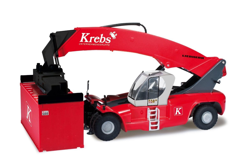 """Herpa Liebherr Reachstacker LRS 645 mit drei Containern """"Krebsgruppe"""" -Einzelstück-"""