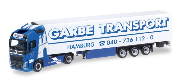 """Herpa Volvo FH Gl. Kühlkoffer-Sattelzug """"Garbe Transport"""" (Einzelstück)"""
