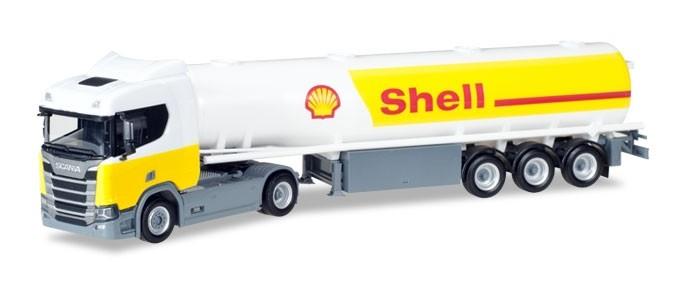 """Herpa Scania CR 20 ND Benzintank-Sattelzug """"Shell""""  -Einzelstück-"""
