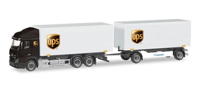 "Herpa MB Streamspace 2.5 Wechselkoffer-Hängerzug ""UPS"" -Einzelstück-"