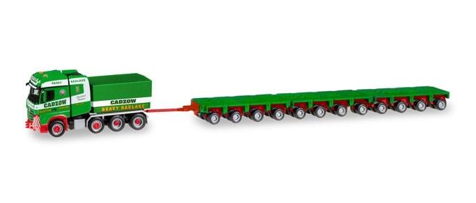 """Herpa MB Arocs Bigspace Schwerlastzugmaschine mit Ballastpritsche und 12 Achslinien """"Cadzow"""" (GB)"""