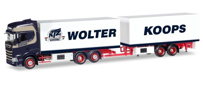 """Herpa Scania CS Hochdach Kühlkoffer-Hängerzug """"Wolter Koops"""" (NL)"""