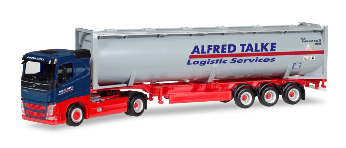 """Herpa Volvo FH Flachdach Drucksilo-Container-Sattelzug """"Alfred Talke"""""""
