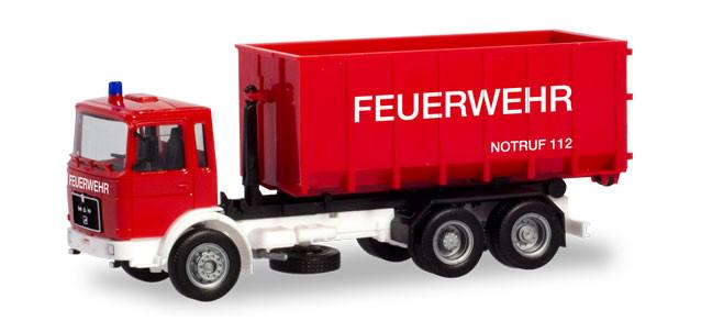 """Herpa  MAN F8 Abrollcontainer-LKW """"Feuerwehr"""""""