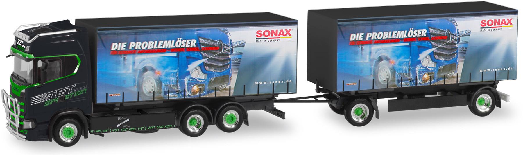 """Herpa Scania CS 20 HD Wechselgardinenplanen-Hängerzug """"TET / Sonax, Big Mike"""""""