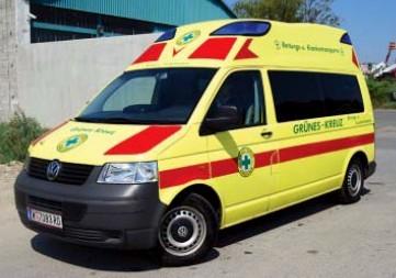 Rietze VW T5 Hornis Silver KTW Grünes Kreuz Wien -Einzelstück-