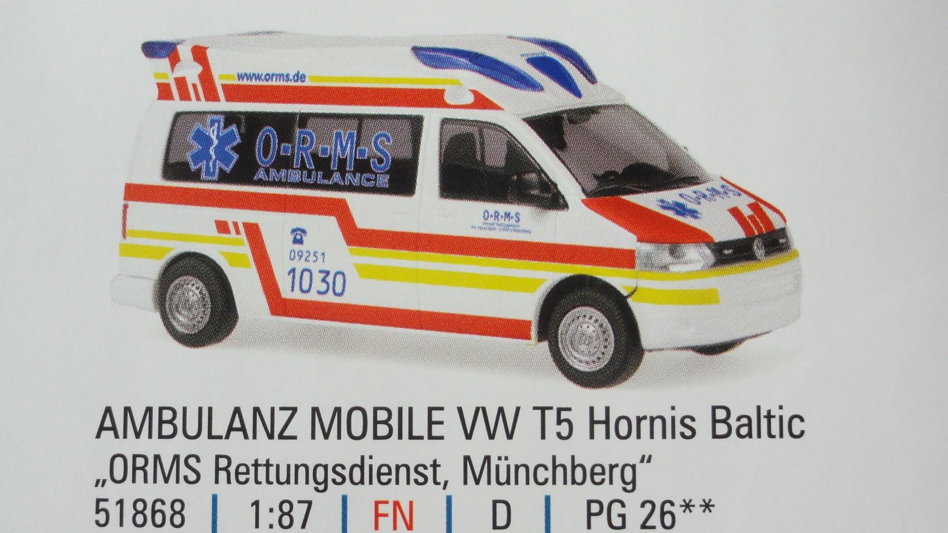 Rietze VW T5 KTW ORMS RD Münchberg