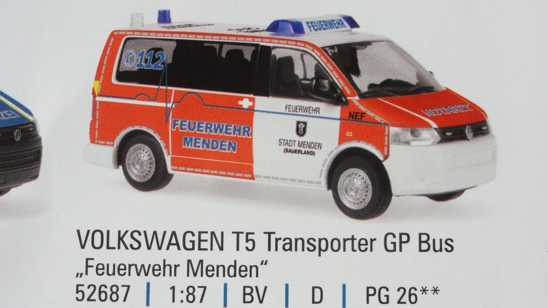 Rietze VW T5 GP NEF Feuerwehr Menden