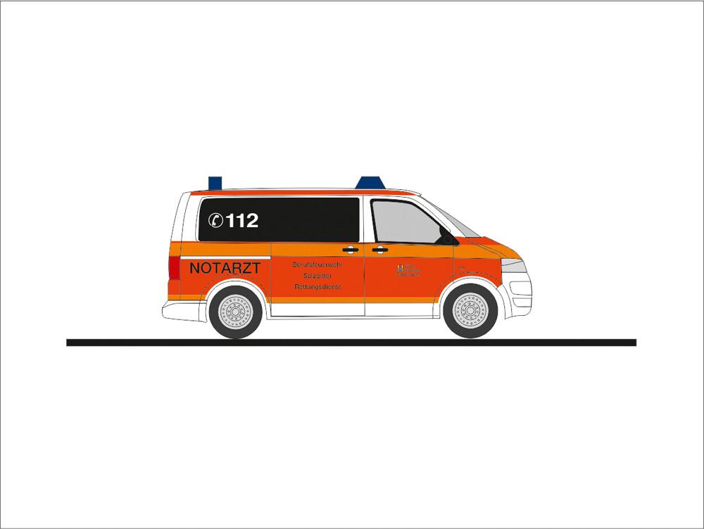Rietze Einsatz-Serie VW T5`10 NEF Feuerwehr Salzgitter (BF), NH 09-10/19,(Vorbestellung / Modell noch nicht lieferbar !!!)