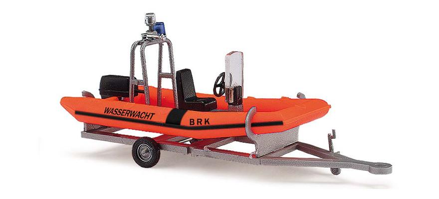 Busch Anhänger mit Motorboot, BRK-Wasserwacht