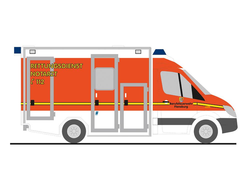 Rietze MB Sprinter GSF RTW Feuerwehr Flensburg (BF), NH 07-08/19