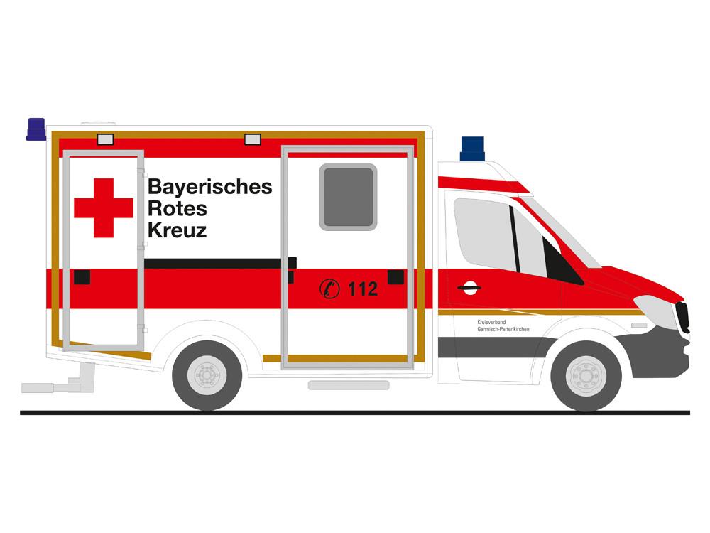 Rietze MB Sprinter 13 RTW BRK Garmisch-Partenkirchen, NH 05-06/19