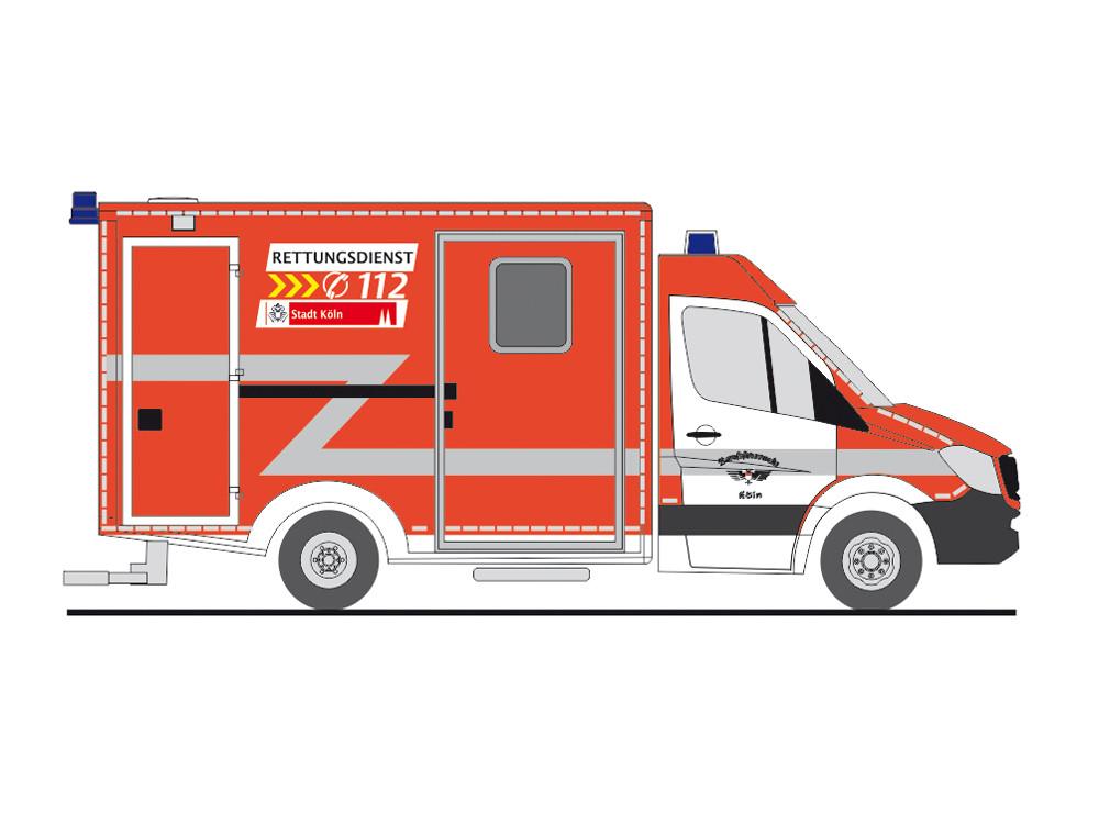 Rietze Einsatz-Serie MB Sprinter 13 RTW Feuerwehr Köln (BF), NH 01-02/19 -Einzelstück-