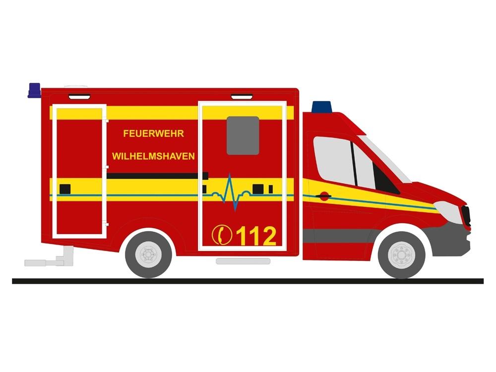 Rietze MB Sprinter RTW Feuerwehr Wilhelmshaven, NH 11-12/18 -Einzelstück-