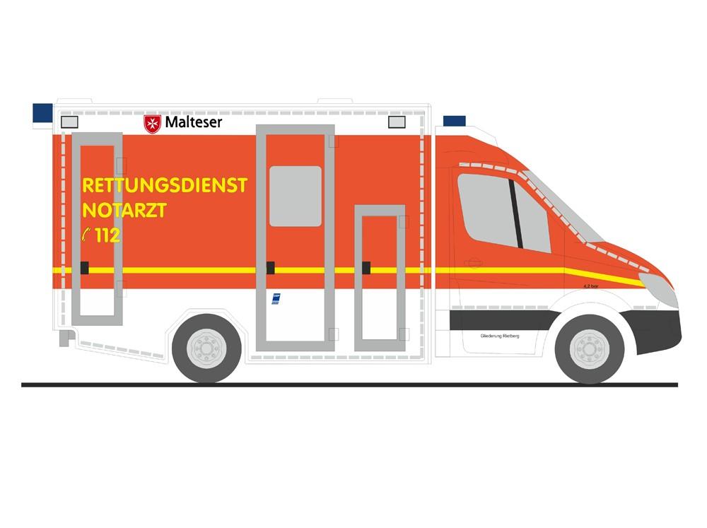 Rietze MB Sprinter RTW Malteser Rietberg, NH 01-02/17, (Vorbestellung / Modell noch nicht lieferbar !!!)