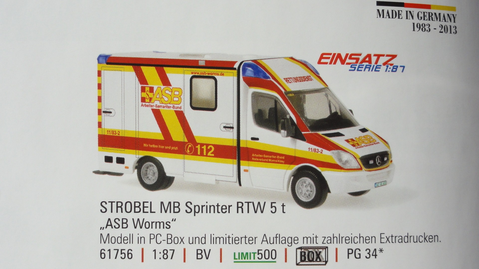 Rietze MB Sprinter 06 Einsatz Serie RTW ASB Worms