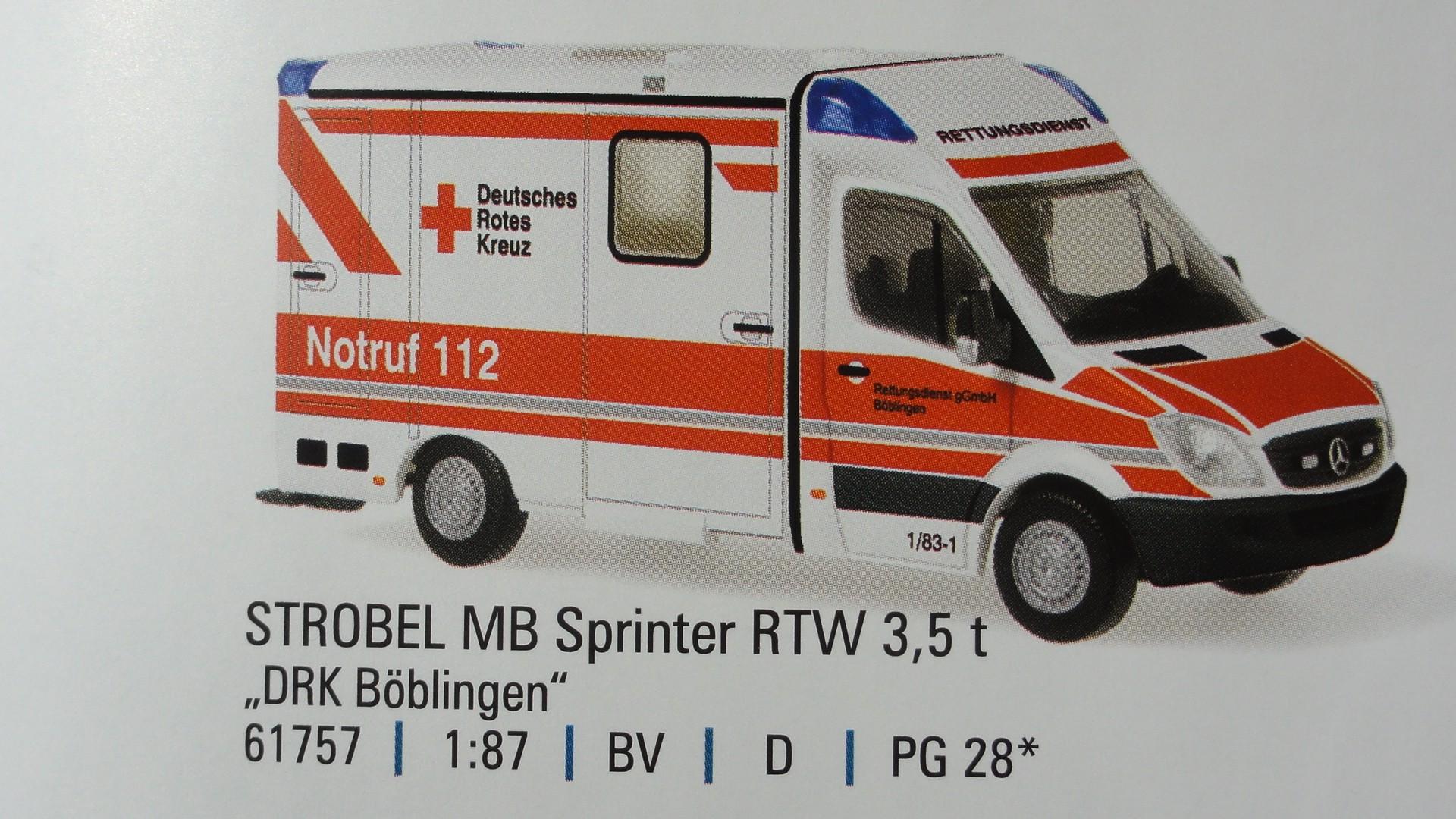 Rietze MB Sprinter 06 Strobel RTW DRK Böblingen