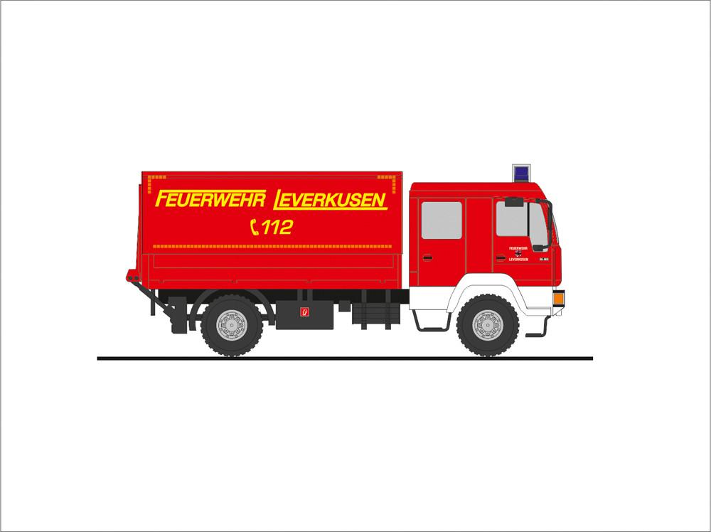Rietze MAN L 2000 DEKON-P Feuerwehr Leverkusen, NH 09-10/19, (Vorbestellung / Modell noch nicht lieferbar !!!)