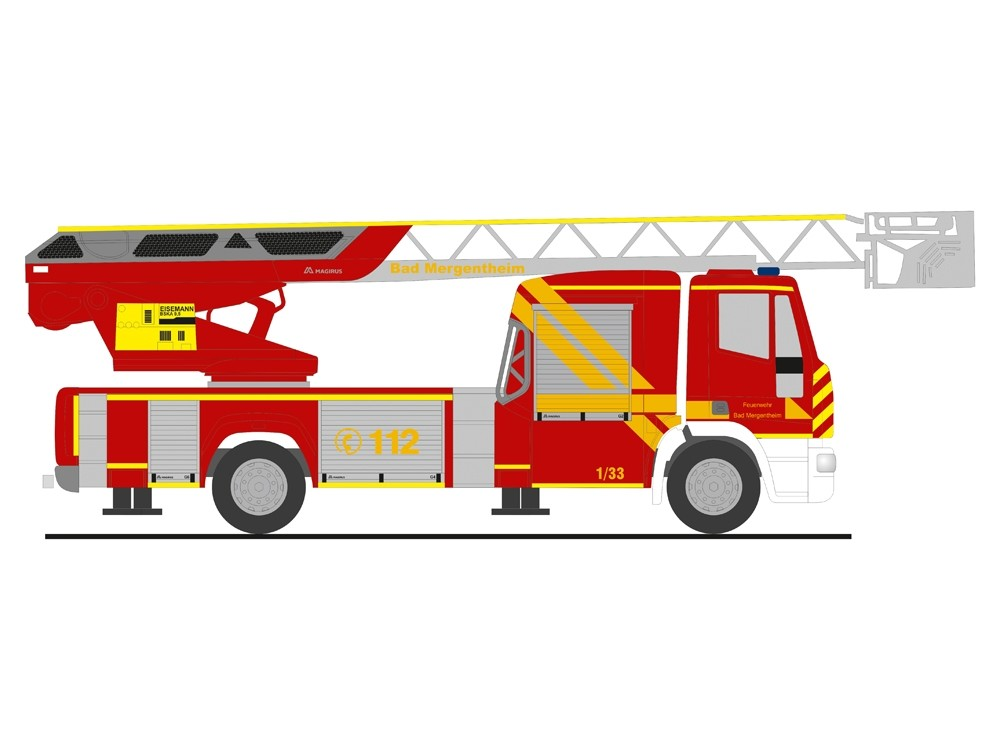 Rietze IVECO DLK 32 Feuerwehr Bad Mergentheim, NH 09-10/18,(Vorbestellung / Modell noch nicht lieferbar !!!)