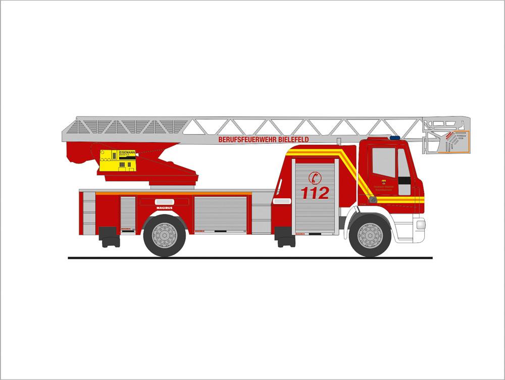 Rietze IVECO DLK 32 L-AS Feuerwehr Bielefeld, NH 09-10/19, (Vorbestellung / Modell noch nicht lieferbar !!!)