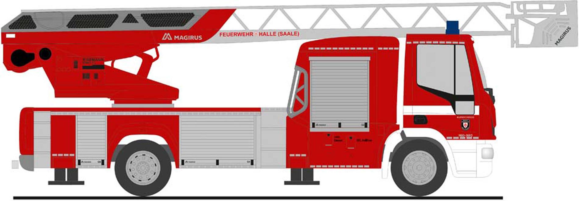 """Rietze IVECO DLK L32 `18 """" Feuerwehr Halle / Saale """", NH Herbst 2020,(Vorbestellung / Modell noch nicht lieferbar !!!)"""