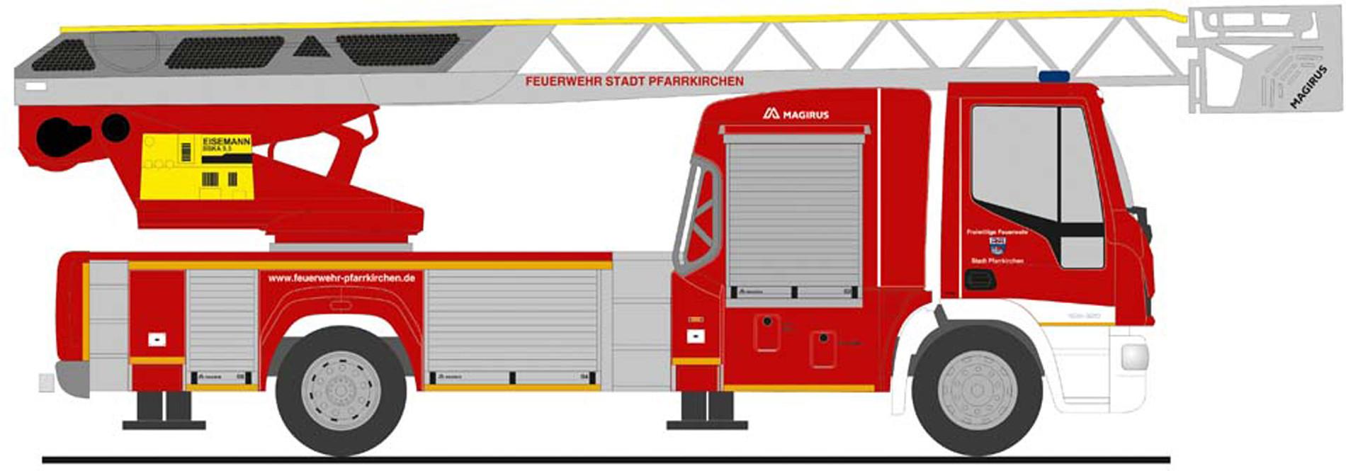 """Rietze IVECO DLK L32 `18 """" Feuerwehr Pfarrkirchen """", NH Herbst 2020,(Vorbestellung / Modell noch nicht lieferbar !!!)"""