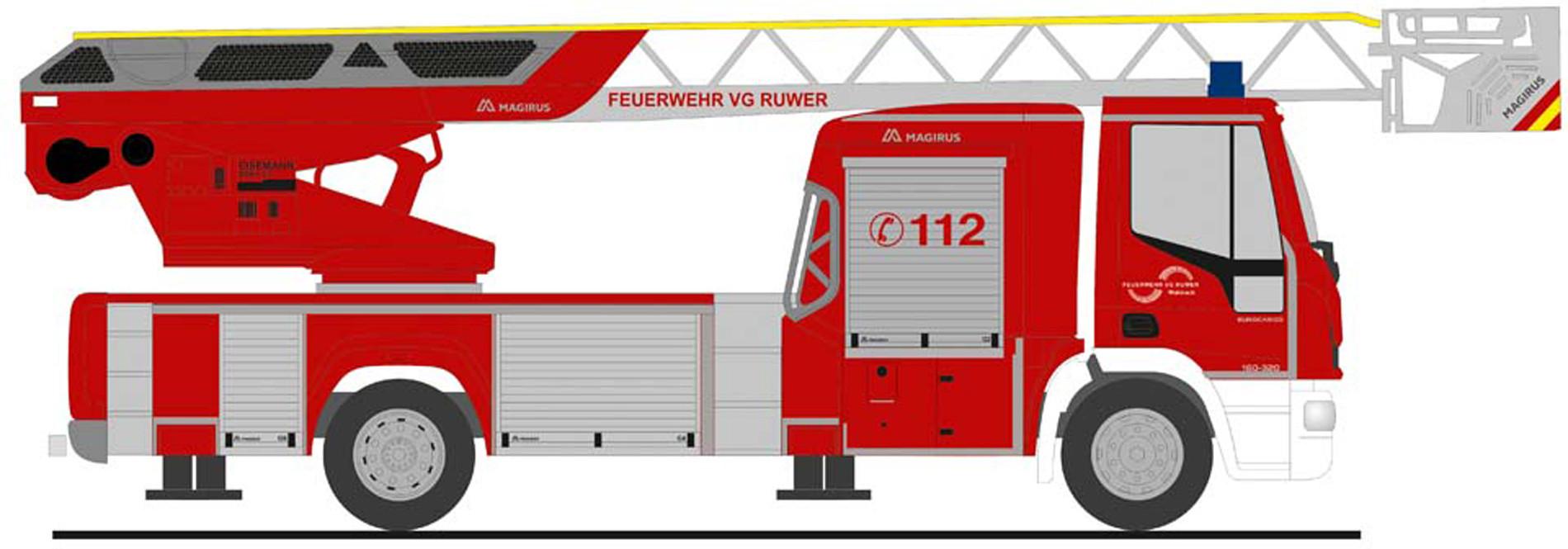 """Rietze IVECO DLK L32 `18 """" Feuerwehr Waldach """", NH Herbst 2020,(Vorbestellung / Modell noch nicht lieferbar !!!)"""