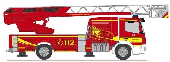 """Rietze MB Atego 19 """" DLK Feuerwehr Burghausen """", NH Frühjahr 20,(Vorbestellung / Modell noch nicht lieferbar !!!)"""