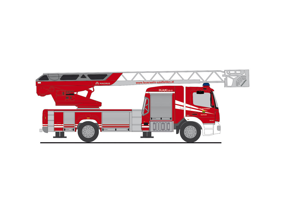 """Rietze MB Atego 19 DLK L32 """"  Feuerwehr Saalfelden  """", NH 09-10/20,(Vorbestellung / Modell noch nicht lieferbar !!!)"""