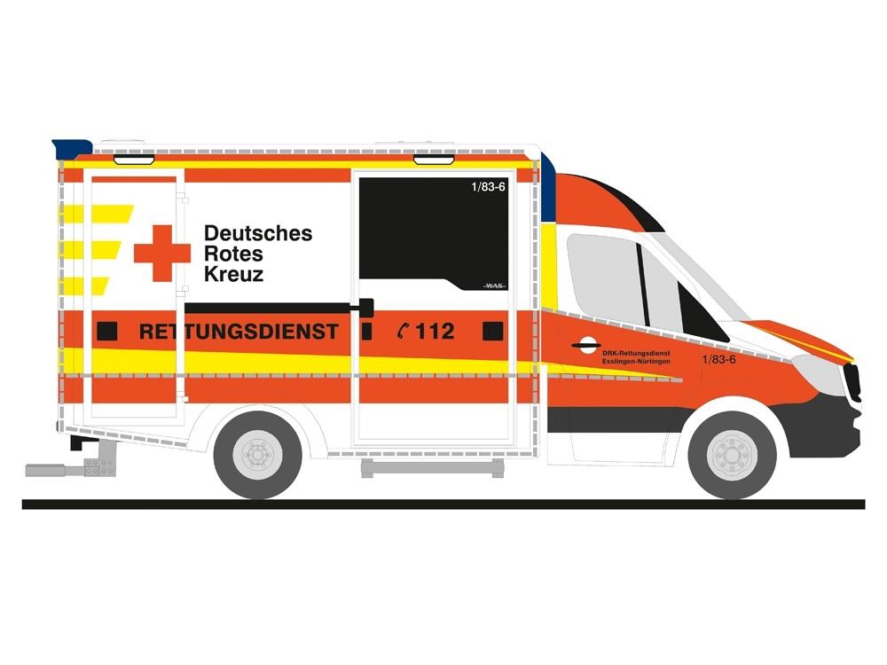 Rietze MB Sprinter 13 RTW DRK Esslingen, NH 09-10/18