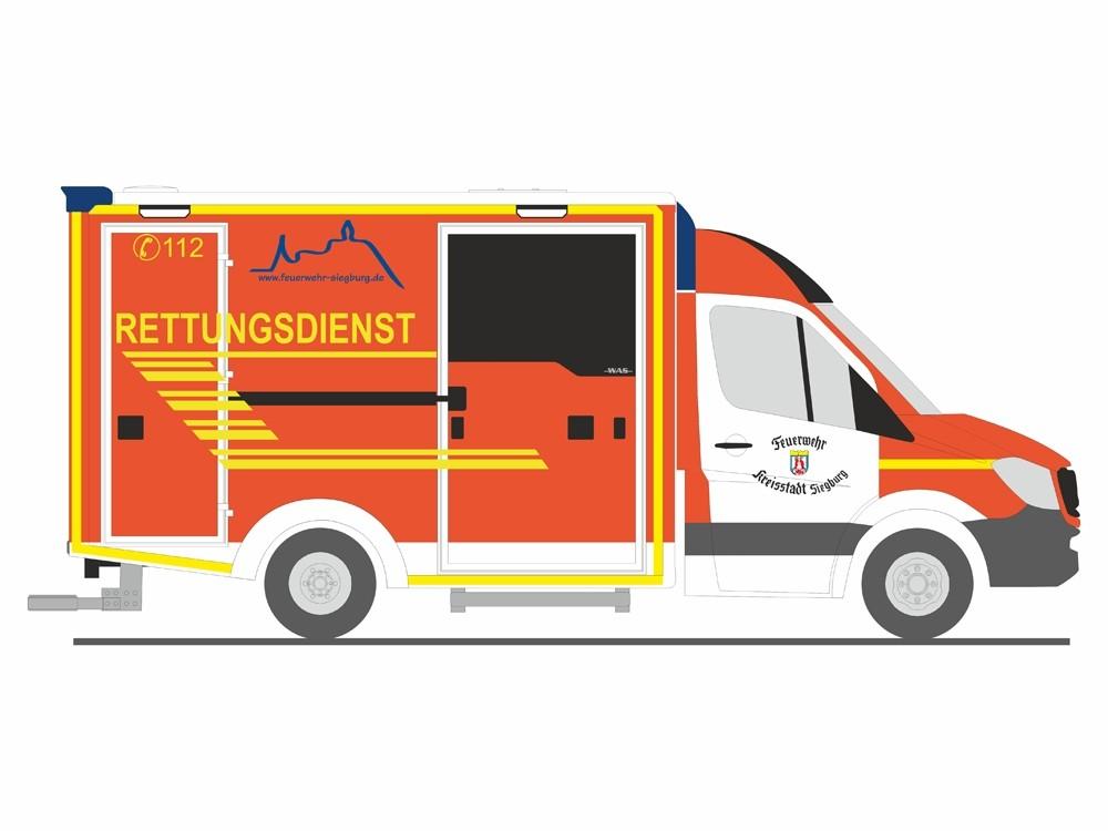 Rietze MB Sprinter 13 RTW Rettungsdienst Feuerwehr Siegburg, NH 09-10/18